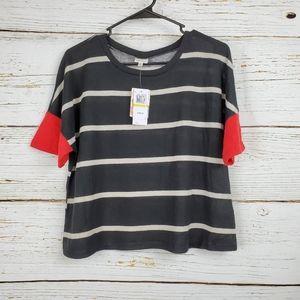 NWT Self Esteem Black Striped Lightweight Sweater